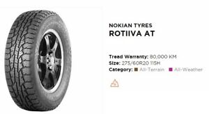 Two Nokian Rotiiva AT SUV All Weather Tires 275/60 R20 115H