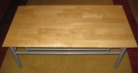 Modern Wooden Topped Coffee Table With Tubular Steel Frame.