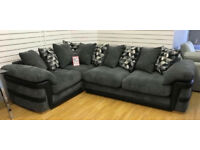 Charcoal Grey Fabric cord corner sofa