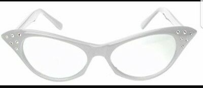Rhinestone Cat Eye Cateye Womens Vintage Style Clear Glasses With White (Cat Eye Frames With Rhinestones)