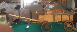 Wooden Horse and cart for sale.