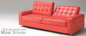 Sofa bed  in Faux leather, Black, Red , Grey, White.