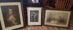 3 Large Victorian Pictures w/Frames