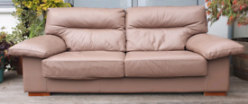 DELIVERY INCLUDED VGC large 2 -3 seater leather half recliner sofa