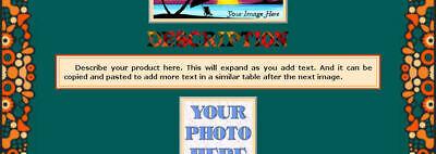 AUCTION TEMPLATE Doodle Border Design Orange Aqua - FREE Shipping - $2.49