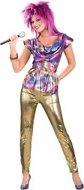 80s FANCY DRESS OUTFIT SIZE 10/12 PARTY OR HEN DO INCLUDES TOP AND PANTS
