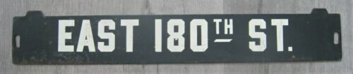 Vintage New York Subway Train Low-V Metal Destination Sign East 180 Street Bronx
