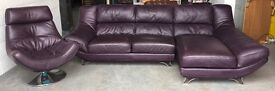 £3000 purple leather corner / swivel sofa set WE DELIVER UK WIDE