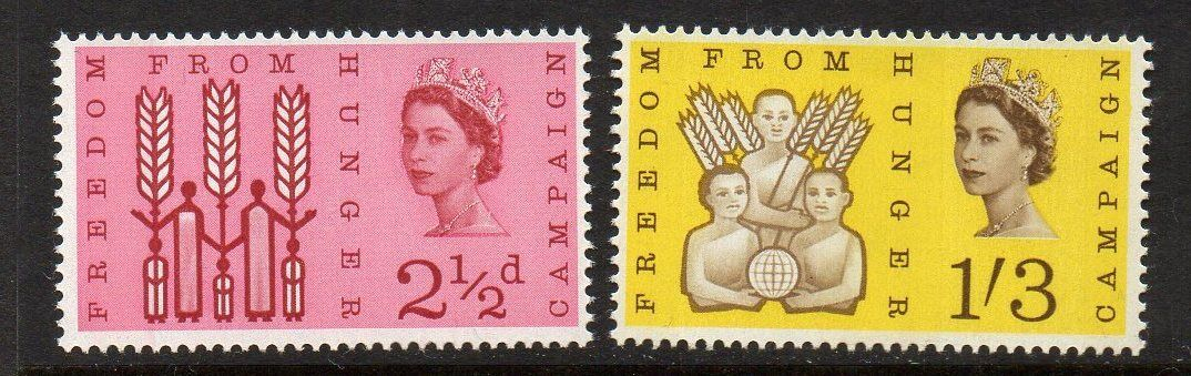 GB SG634p/5p 1963 FREEDOM FROM HUNGER PHOSPHOR MNH
