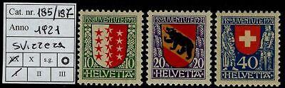 Svizzera - 1921 - Pro Juventute - nuova MNH - Unificato nn.185/187