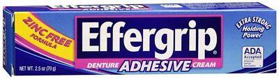 2 Pack Effergrip Denture Adhesive Cream 2.50 oz Each FREE SHIPPING Effergrip Denture Adhesive Cream