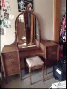 Antique Vanity and Stool For Sale