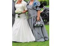 Plus size mother of the bride dress and jacket taffeta
