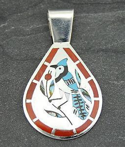Dennis-Nancy-Edaakie-Silver-Turquoise-Coral-Blue-Jay-Pendant-Zuni-Jewelry