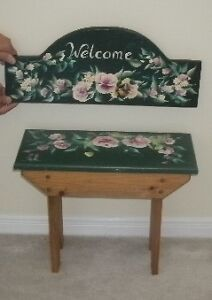 Beautifully Artistically Hand Painted Bench & Welcome Sign