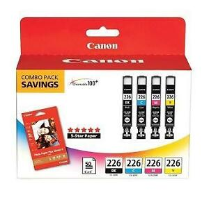 NEW CANON 226 INK CARTRIDGES PACK CLI-226 Black, Cyan, Magenta, and Yellow ink tanks CLUB PACK 105937516