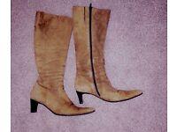 Italian knee length suede boots