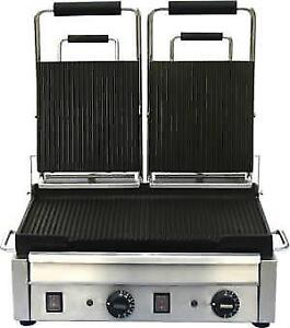 PANINI GRILL NEW DOUBLE RIBBED .*RESTAURANT EQUIPMENT PARTS SMALLWARES HOODS AND MORE*