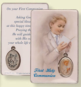 First Holy Communion Prayer Leaflet Card God's Blessings With Picture Medal