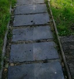 Garden paving slabs grey slate effect
