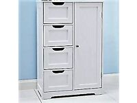 White wooden bathroom cabinet