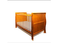3 in 1 PINE COLOUR SLEIGH COT BED WITH MATTRESS URGENT