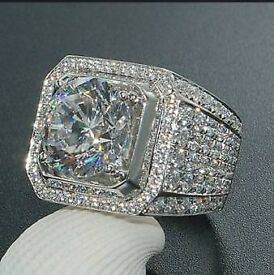 Womans 0.2ct white zirconia crystal S925 silver ring