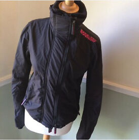Superdry Japan the windcheater waterproof coat size small women's pink and grey/black
