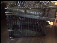 Black metal medium dog cage create