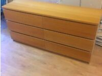 IKEA MALM Chest of 6 Drawers Oak