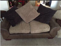 Brown Faux suede 2 seater settee/sofa