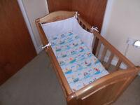 mothercare glidding crib matress bumper and sheet