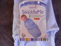Summer The Original Swaddle Me baby wrap blue fleece 0-4 months NEW