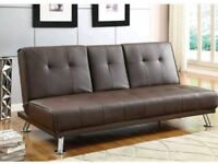 Clic clac faux brown leather Sofa Bed
