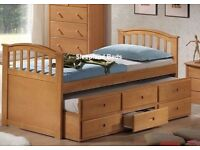 Euro Single Wooden Captains Bed - Guest Bed & Drawers