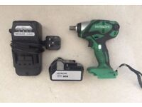 """Hitachi WR18DSDL Impact Wrench 1/2"""" and 2 Batteries 18v & Charger"""