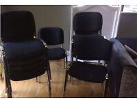 11 black fabric reception chairs