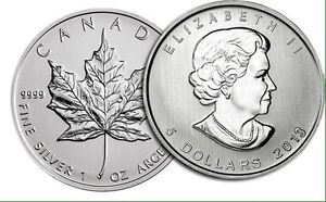 Silver 1oz Maple Leafs Coins Limited Quantity Available.