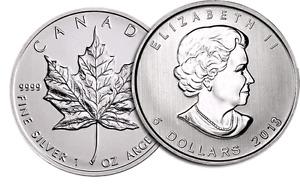 Silver Canadian maple leaf bullion coin