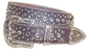 New Women Western Rhinestone Bling Crystal Stud Buckle Dark Brown Leather Belt M