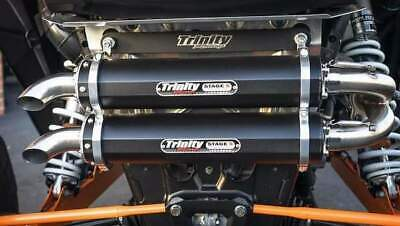 Trinity Racing Stage 5 Dual Muffler Full Exhaust System Polaris RZR XP Turbo XPT