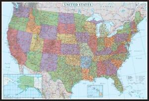 Usa map posters prints ebay usa wall maps gumiabroncs Images