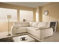 BRAND NEW LARGE ENZO BLACK , BROWN or CREAM CORNER SOFA BED WITH STORAGE FAUX LEATHER