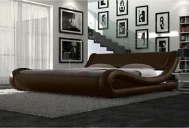 NEW Stylish curved italian style bed - double / king, Dark brown, black/white