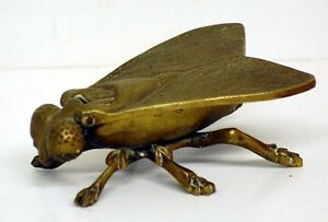 Vintage Brass Fly Ashtray Match Holder, Trinket Box, England