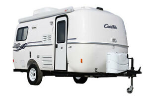 a Casita or similar fiberglass travel trailer