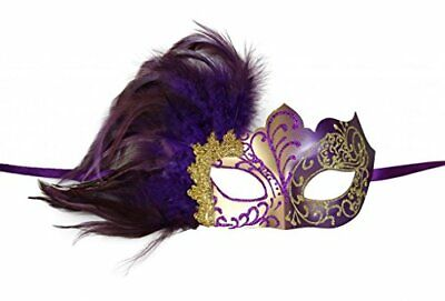 KAYSO INC Venetian Masquerade Mask with Feathers Gold & - Masquerade Mask With Feathers