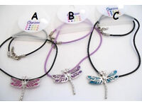 Dragonfly pendant on coloured cord. Length of cord is aprox 40cm with a 4cm extension chain - JTY343