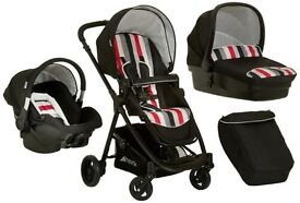 Pram, carry cot, car seat, all in one set