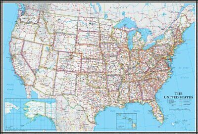 Large United States US Wall Map Road Travel Hanging Poster Mural Laminated 24x36 ()
